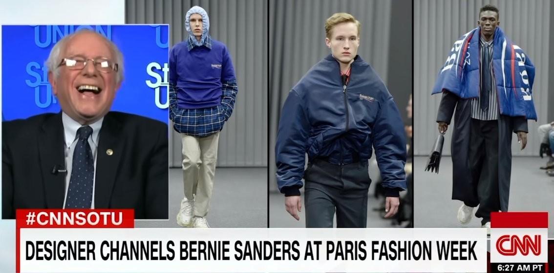 """Balenciaga """"Berncore"""" ja Bernie Sandersi reaktsioon küsimusele, kas ta oskas arvata, et temast saab kunagi moeikoon. Foto: YouTube'i kuvatõmmis"""