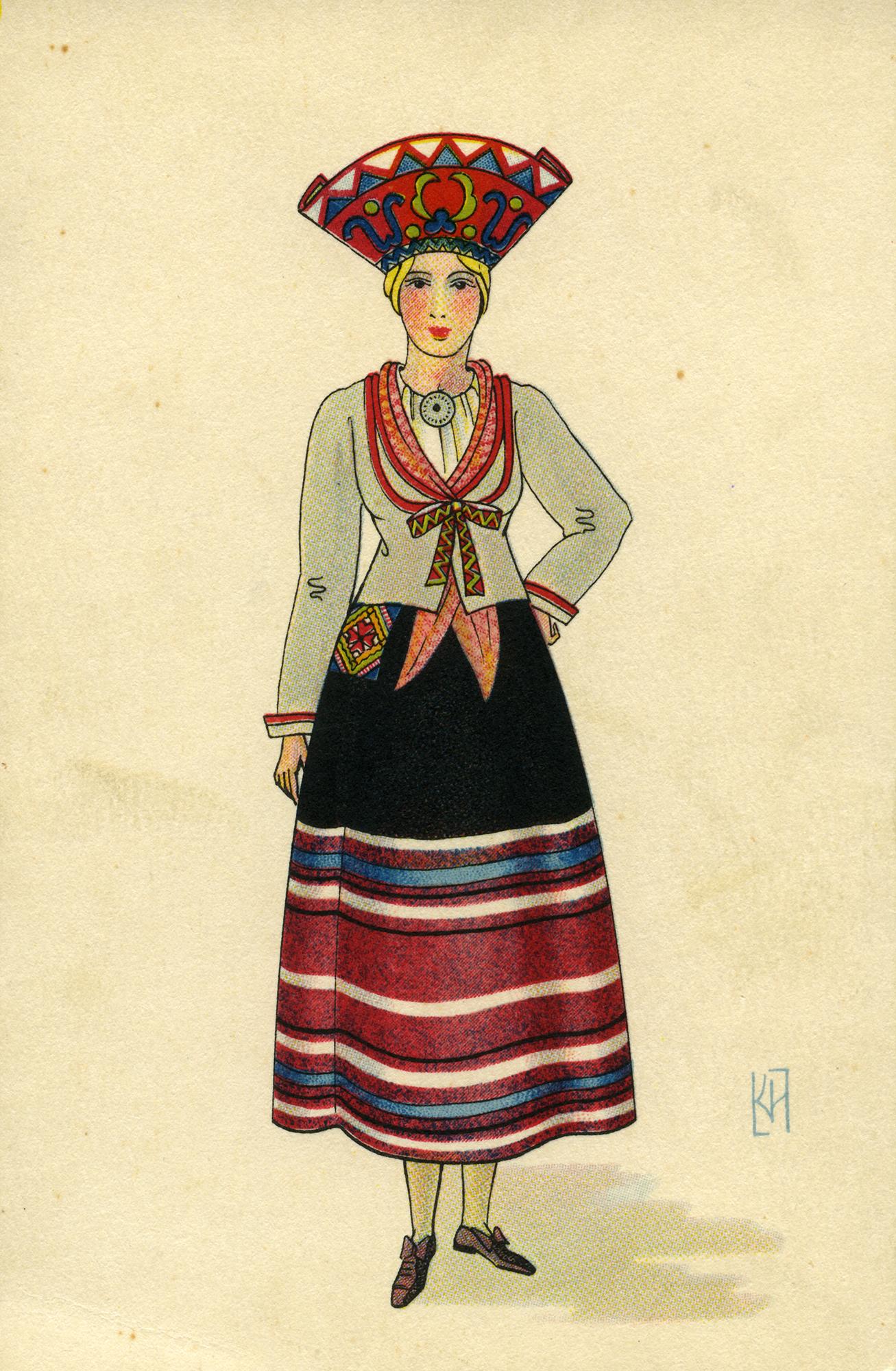Jämaja naine 1930ndatest pärineval postkaardil. SA Saaremaa Muuseumi kogu