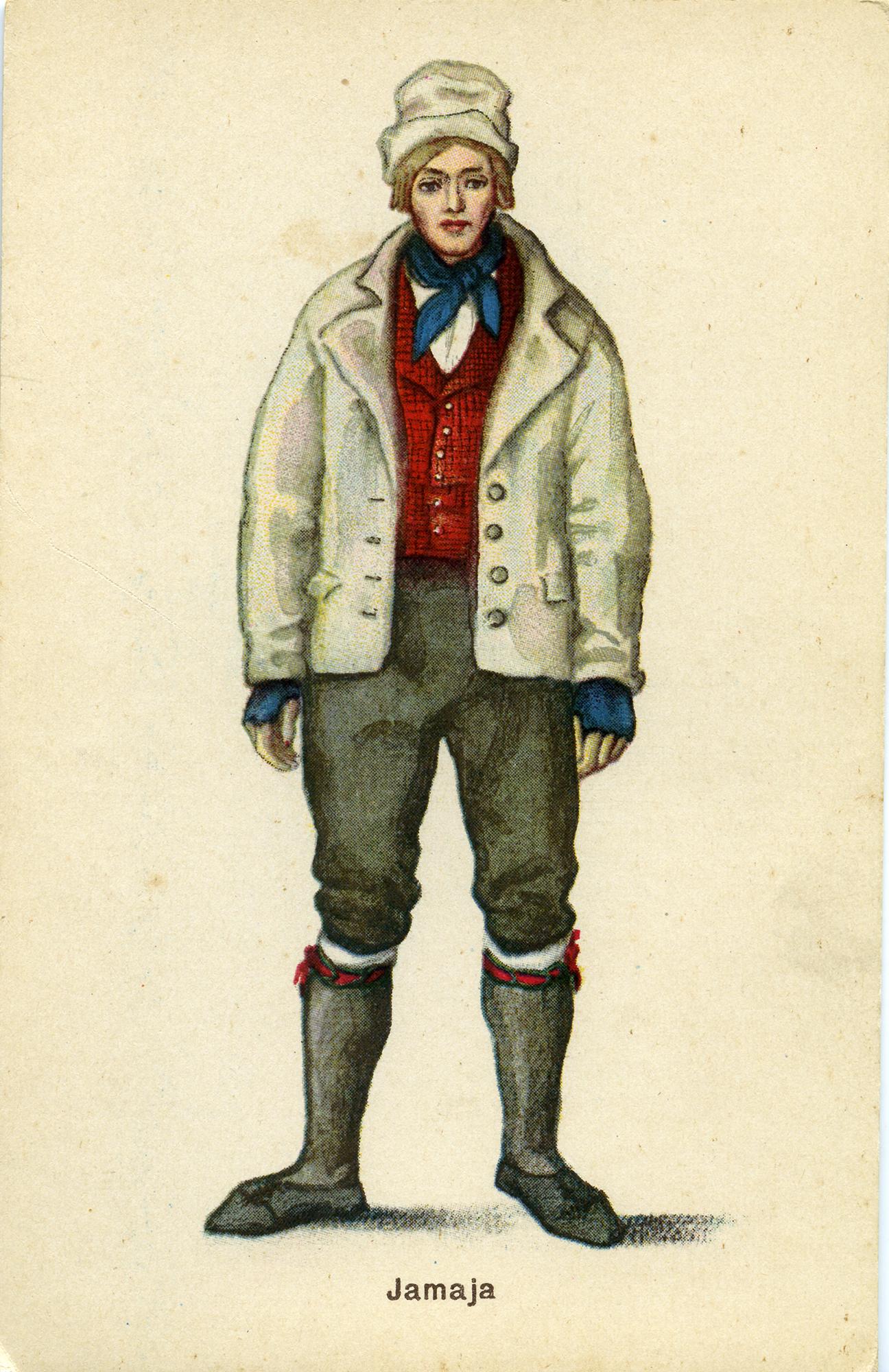 Jämaja mees 1930ndatest pärineval postkaardil. SA Saaremaa Muuseumi kogu