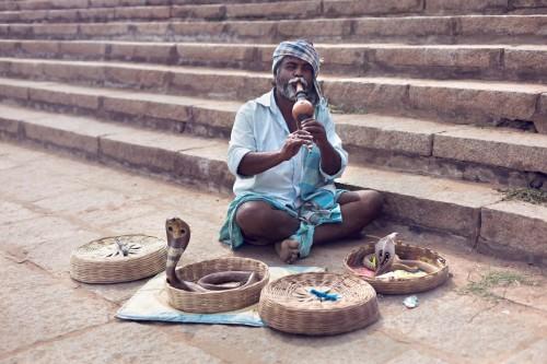 Rabu oma kahte kobra tantsitamas ja taltsutamas. Asukoht: Hampi Karnataka, India. Foto: Ivonne Veith