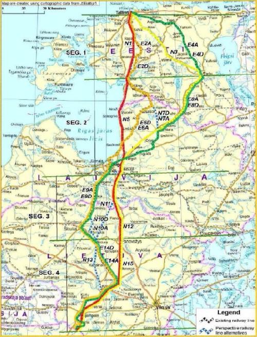 Rail Balticu trassivariandid. Rail Baltic trassikoridori kavandamise oluliseks aluseks on 2011. aasta AECOM-i tasuvus-teostatavuse uuring. Selle alusel on valitud punasega tähistatud liin.