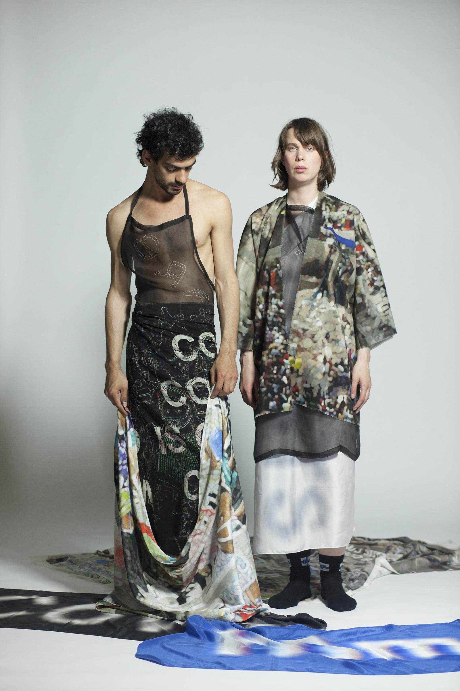 "Sandra Kossorotova kollektsioon ""Plaza"". Modellid: Tobei Magined ja Pire Sova. Foto: Ken Oja"