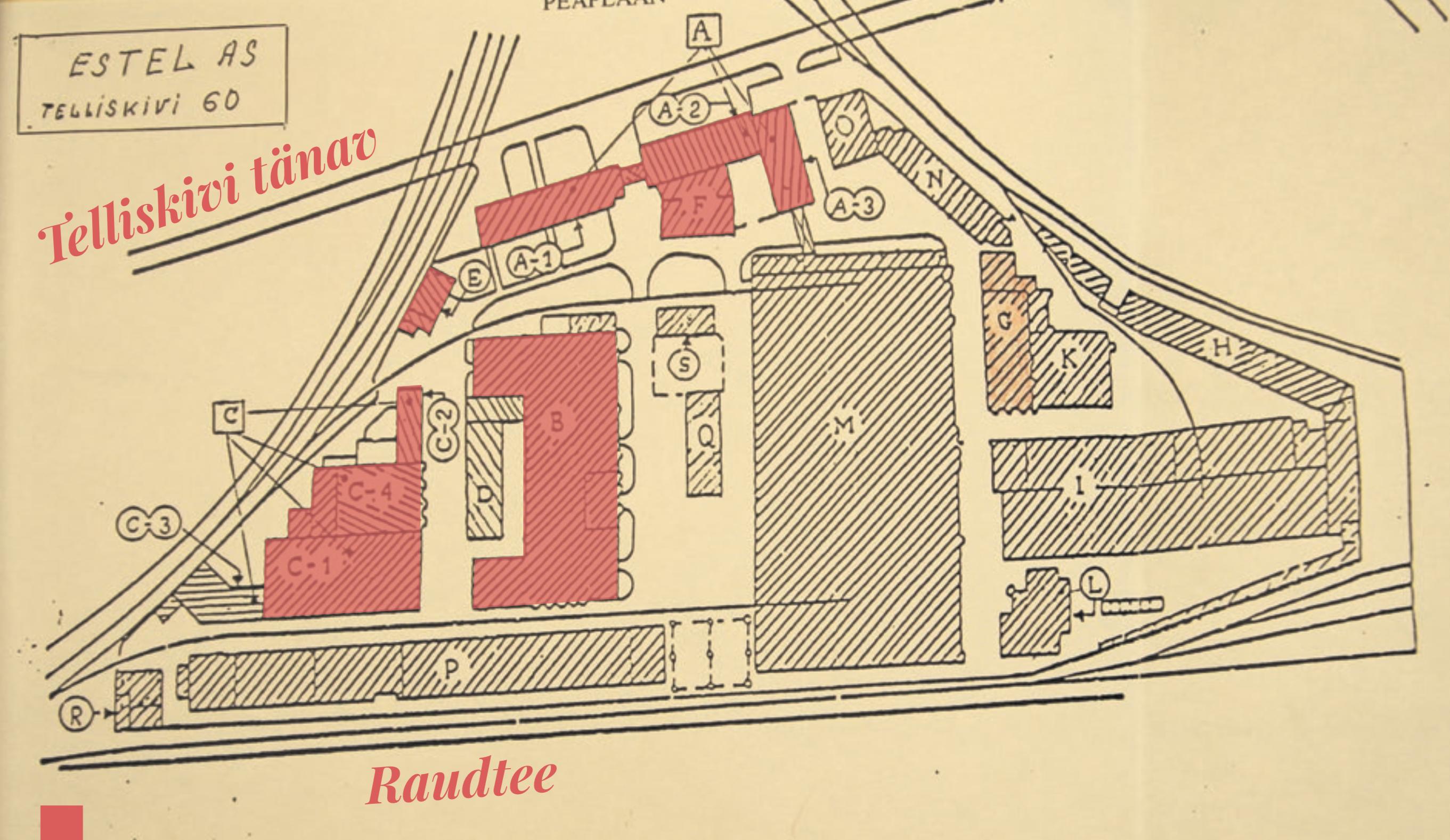 Kunagistele Estel ASi asendiplaanile on roosaga märgitud Telliskivi Loomelinnaku hooned. Plaan: Tallinna Linnaplaneerimise Ameti arhiiv