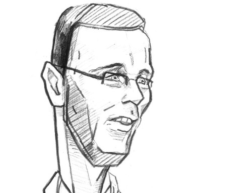 Sergei Metlev. Karikatuur: Jaan Škerin