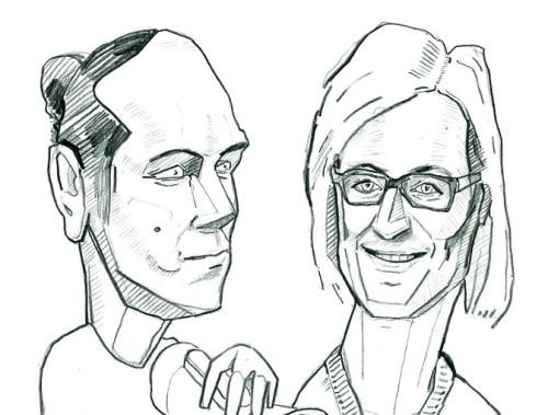 Siim Tuisk ja Gea Kangilaski. Karikatuur: Jaan Škerin