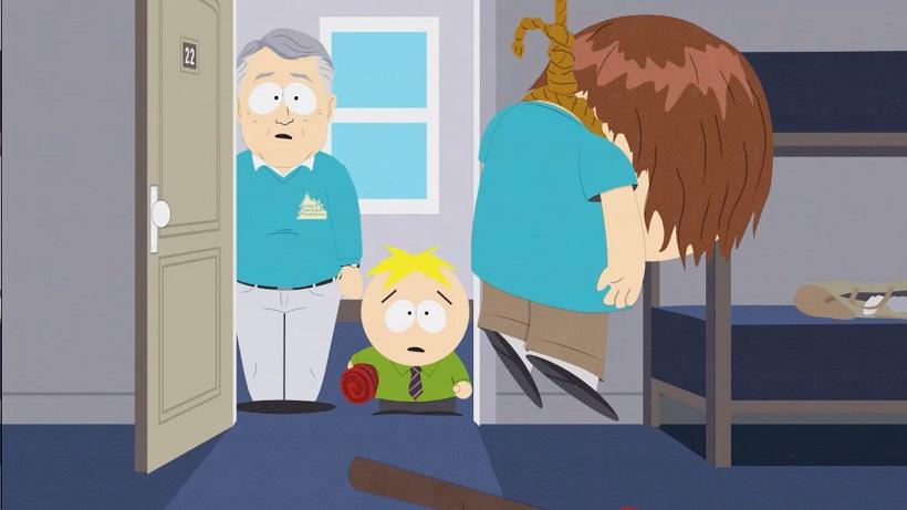 """Sari üritab iga teemaga ekstreemsustesse laskuda. Osas """"Cartman Sucks"""" käsitletakse seksuaalse orientatsiooni küsimust: kas teraapiliste võtetega on võimalik muuta inimese seksuaalsust? Autorite arvamus kajastub pildil."""