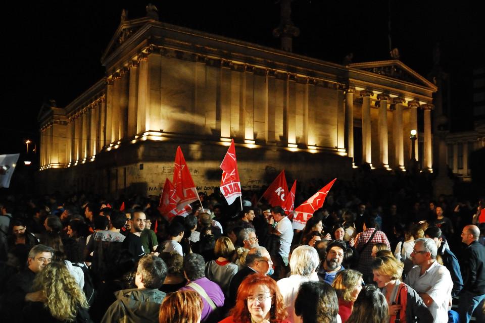 Syriza toetajate kogunemine Ateenas. Foto: Adolfo Lujan (CC BY-NC-ND 2.0)