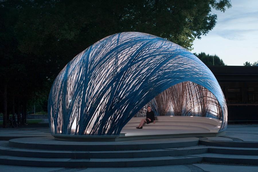"""TABi kuraatorinäitusel """"Keha Ehitus / Body Building""""  näidatakse nüüdisarhitektuuri innovaatilisemaid tehnoloogiaid ja materjale. Pildil ICD/ITKE Research Pavilion 2014-15. Foto: University of Stuttgart."""