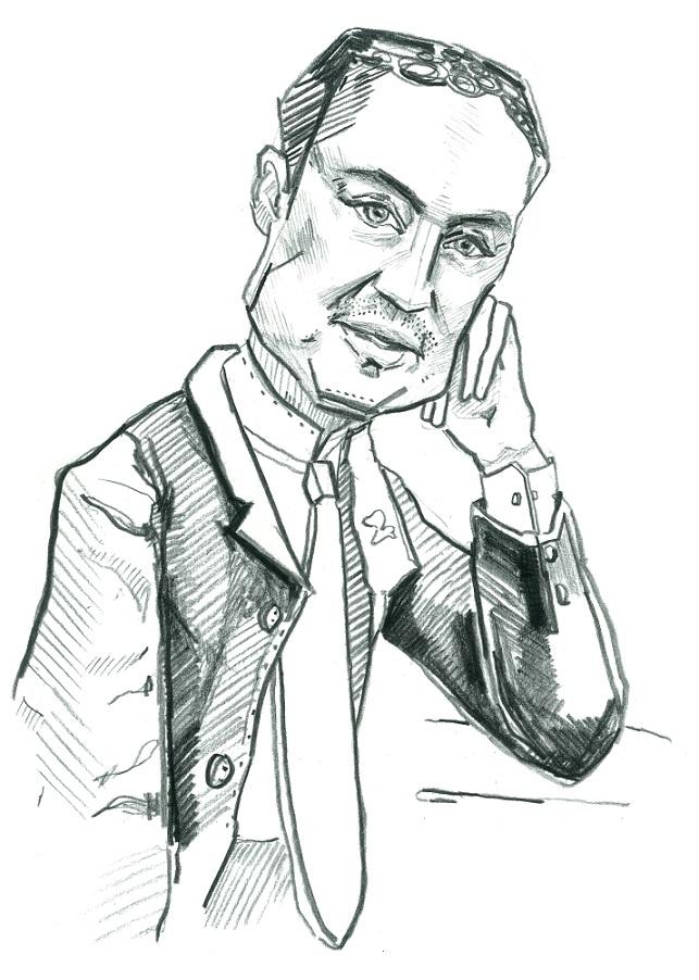 Taavi Rõivas. Karikatuur: Jaan Škerin
