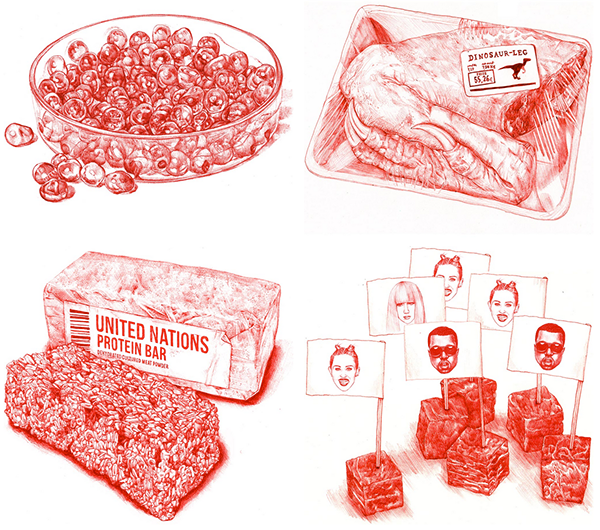"""The In Vitro Meat Cookbook"". Illustratsioon: Behance'i kasutaja Silvia Celiberti (CC BY-NC-ND 4.0)"