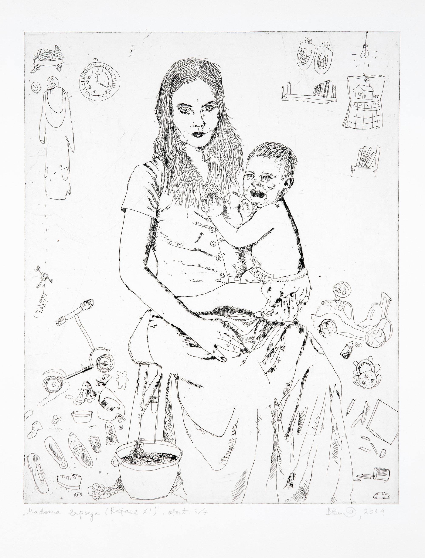 """Britta Benno """"Madonna lapsega (Rafael XI)"""", ofort, 2014"""