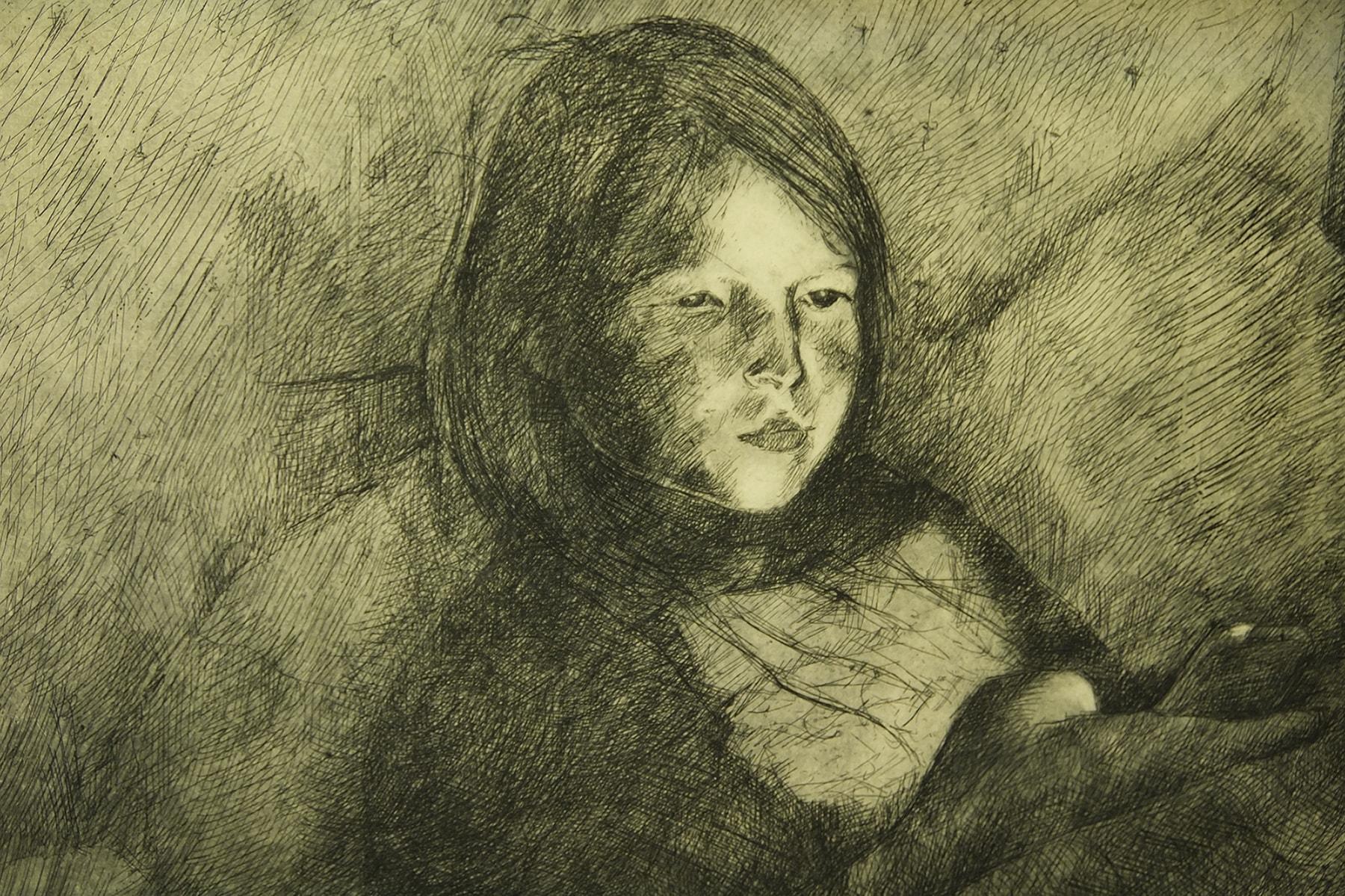 """Lilli-Krõõt Repnau """"Tüdruk nutitelefoni valguses"""", ofort, 2017, 40 x 50 cm"""