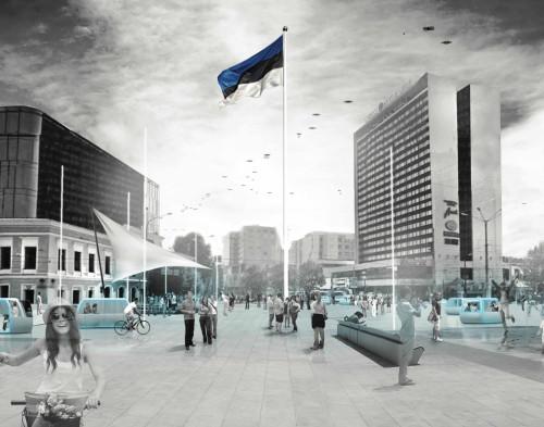 """Tallinna Arhitektuuribiennaali tänavusele visioonivõistlusele """"Tallinna epitsenter"""" oodati ideid Viru ristmiku planeeringuks. Pildil võistlustöö """"Midpoint"""". Teisi võistlustöid vaata veebilehelt vision2015.tab.ee."""
