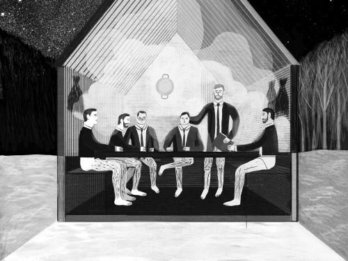 Saun-konverentsiruum. Kosmos arhitektide spekulatiivne projekt