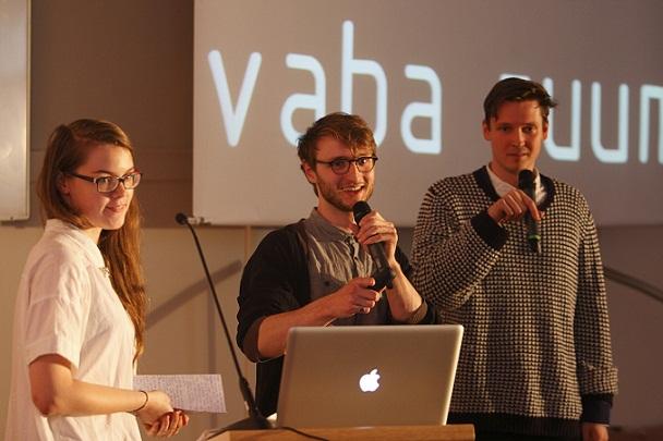 """""""Vaba ruum"""" autorid. Vasakult: Johanna Joekalda, Siim Tuksam, Johan Tali. Foto: Reio Avaste."""