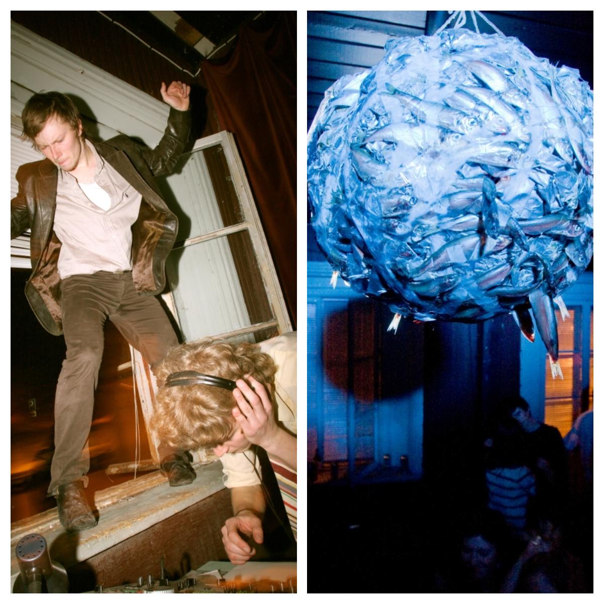 2007. aasta novembris Genialistide Klubis toimunud Vastiku Disko peosaali kaunistav kiludest diskokera hoidis peo nime väärikat lippu kõrgel. Vasakpoolne pilt pärineb sama peosarja 2008. aasta märtsis toimunud ürituselt, kus kasutati ruumipuuduse tõttu tantsuks kõiki Genialistide Klubi horisontaalseid pindu. Madis Ligema stiilinäide aknalauatantsust, paremal Gregor Taul. Fotod: Lauri Kulpsoo