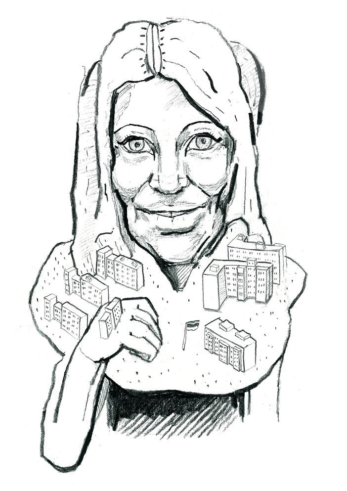 Viktoria Ladõnskaja. Karikatuur: Jaan Škerin