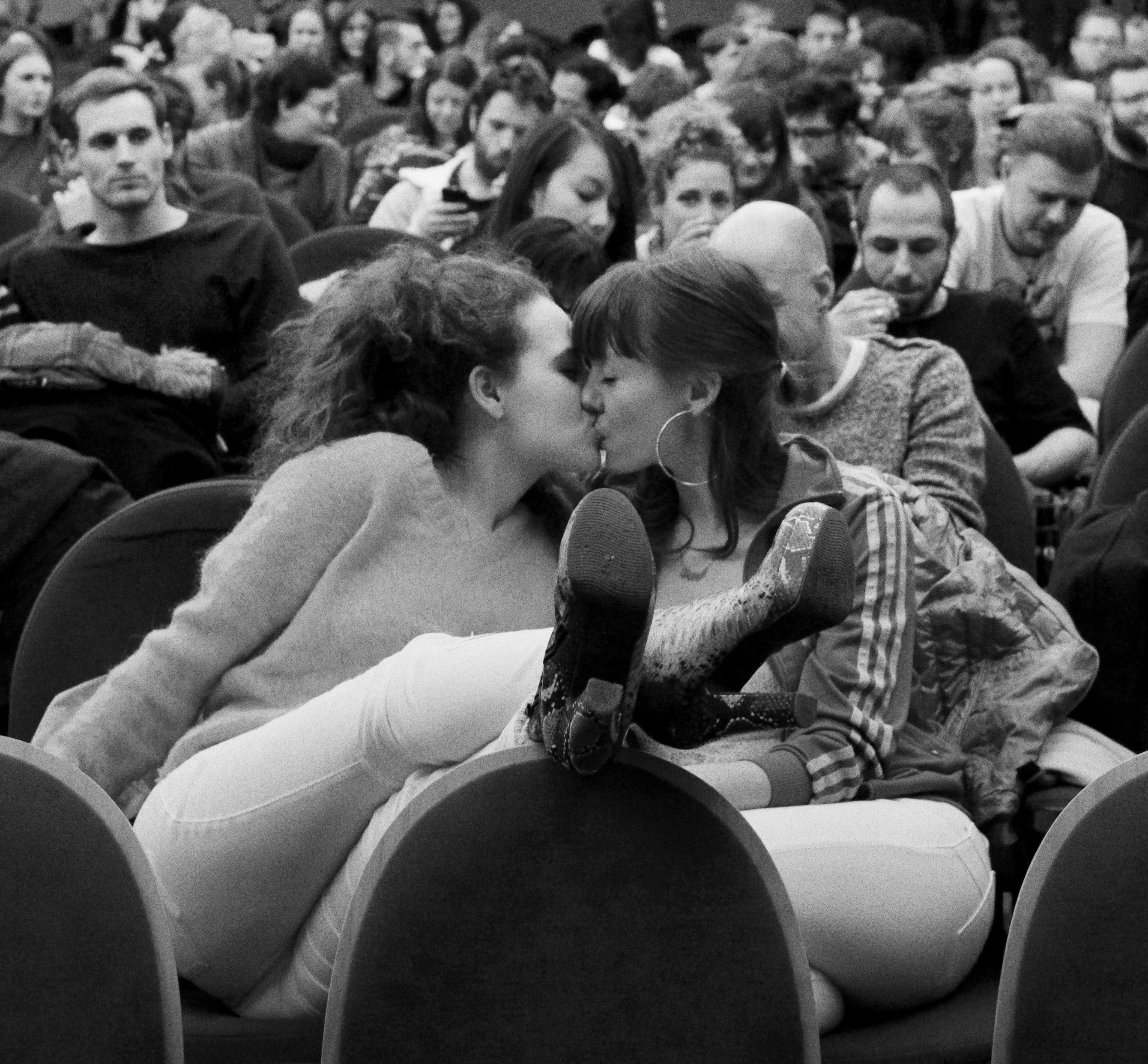 Erika Lusti filmilinastus Babyloni kinos Berliinis. Foto: Mara Lea Hohn