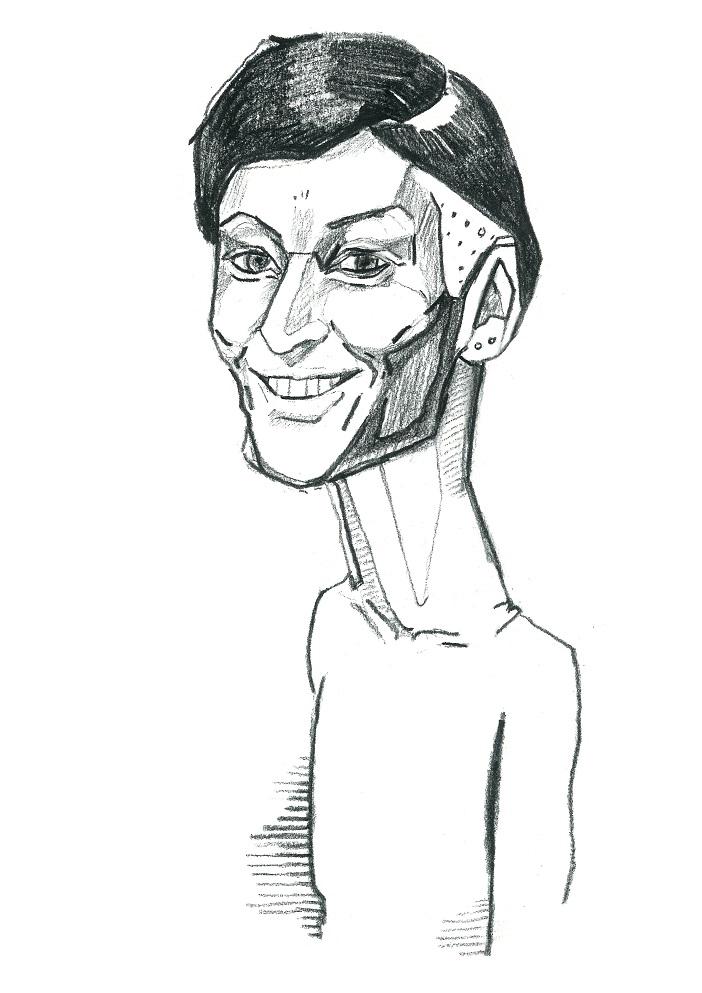 Yoko Alender. Karikatuur: Jaan Škerin