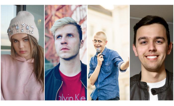 Eesti youtuber'id: (vasakult) Maria Rannaväli, Martti Hallik, Märt Koik ja Henri Karpov