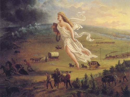 """Ameeriklasi kannustas läänt koloniseerima muuhulgas kristlik-fundamentalistlik usk, et see on nende jumala poolt ette määratud saatus. Pildil John Gasti 1872. a maal """"American Progress"""""""