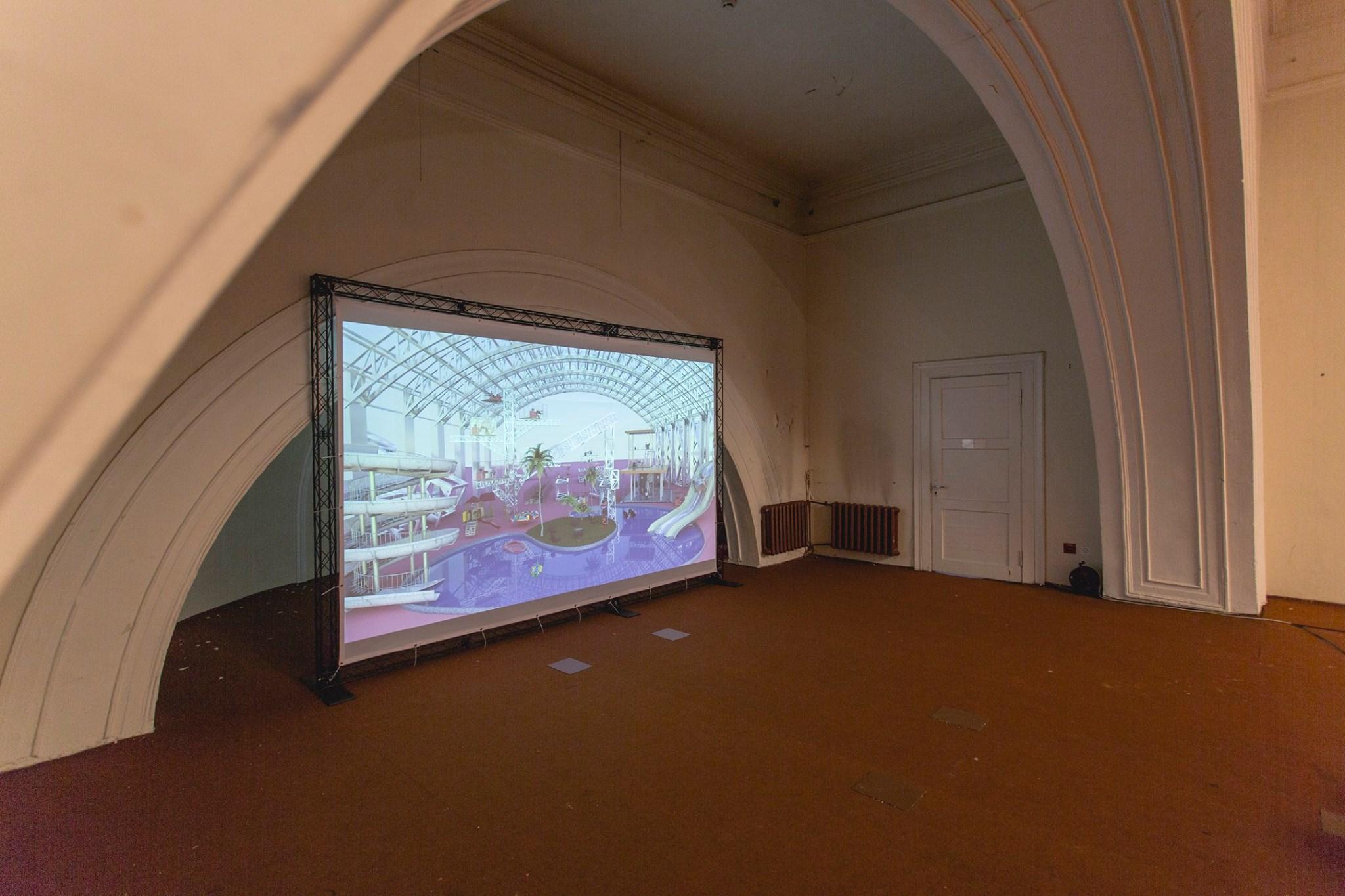 Näitusevaade Matthias Sildniku 3D mudeliga täiuslikust töökeskkonnast. Foto: Ahto Sooaru