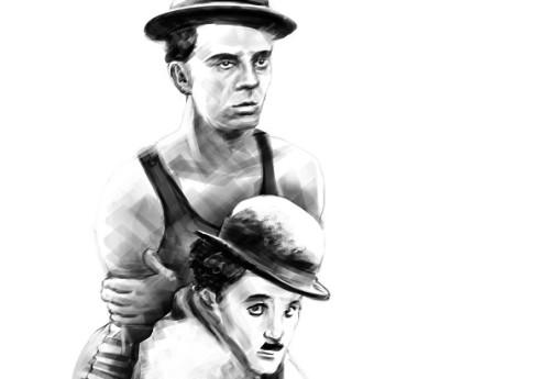 Buster Keaton ja Charlie Chaplin. Illustratsioon: Andrei Kedrin