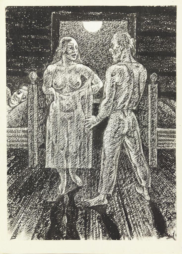 """Eduard Wiiralti avaldamata illustratsioon Albert Kivikase novellile """"Sookaelad"""", 1924, Eesti Kunstimuuseumi graafikakogu"""