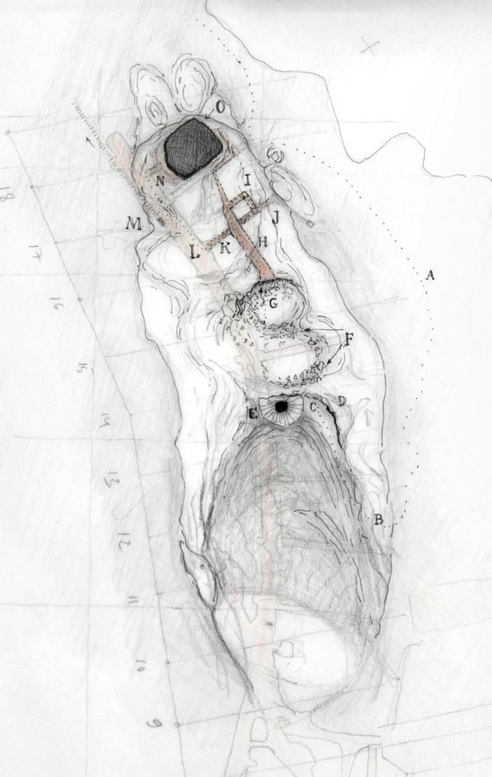 """Jussi Kivi """"Topograafiline uurimus nimetust kohast maa-aluste täiendustega"""", tint, pliiats, vesivärv, 2015"""