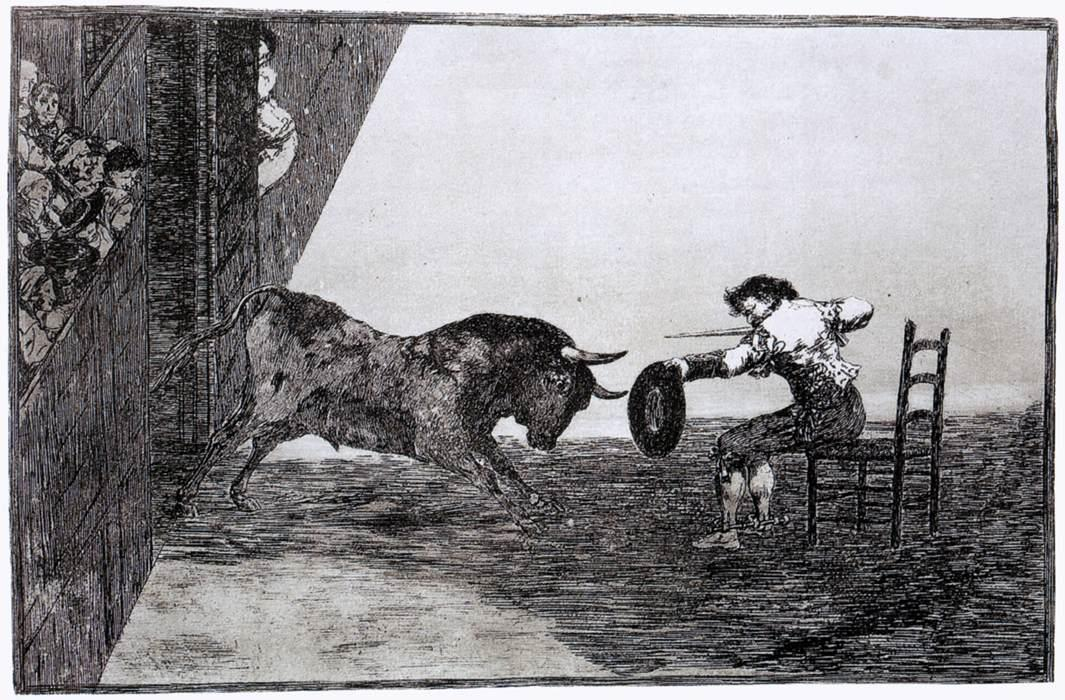 Francisco de Goya. The Bravery of Martincho in the Ring of Saragassa (Tauromaquia 18). 1815–1816. Wikimedia Commons