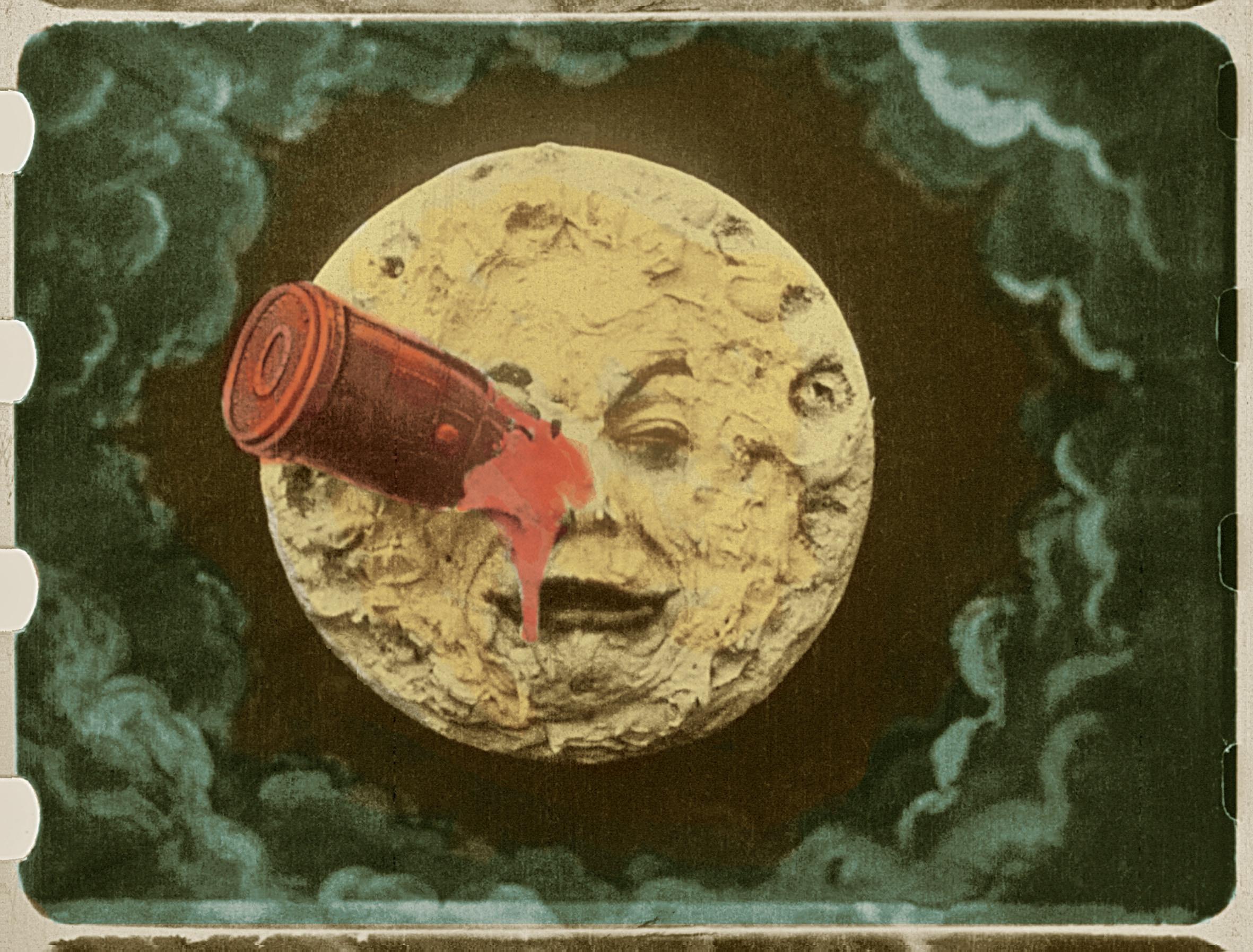 """Pildil ainus säilinud käsitsivärvitud kaader Georges Méliès'i filmist """"Reis Kuule"""" (1902). Foto: Wikimedia Commons"""