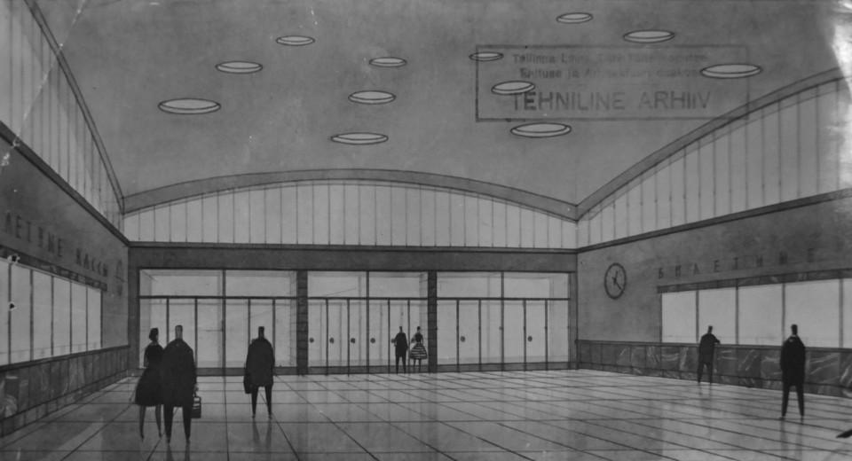 Balti Jaama lähirongide ootepaviljon. Visuaal 1961. aasta projektile: Tallinna Linnaplaneerimise Ameti arhiiv