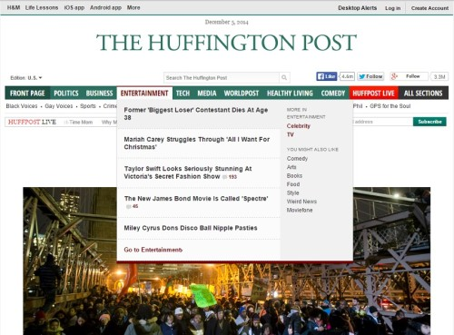 The Huffington Posti esileht 5. detsembri hommikul. Kuvatõmmis
