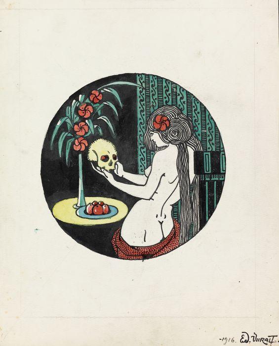 """Eduard Wiiralt """"Naine kolbaga"""" (1916, tušš, akvarell), Eesti Kunstimuuseum"""